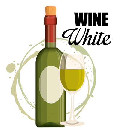 red wine bottle and cup label vector illustration design