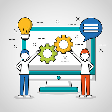 people teamwork two boys presenting tools computer vector illustration