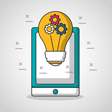 idea de bombilla de teléfono inteligente de tecnología de trabajo en equipo con herramientas ilustración vectorial