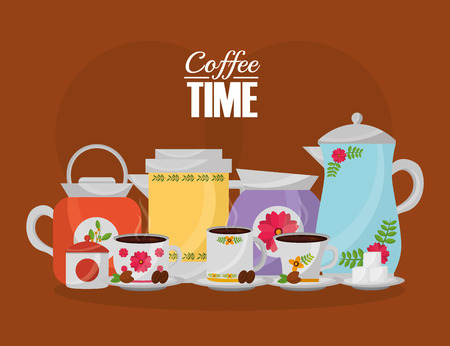coffee time - coffee maker and cups set flower decoration vector illustration  イラスト・ベクター素材