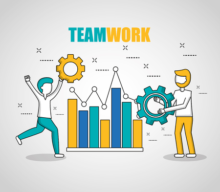 people teamwork statistics boys holding tool running with hand tool vector illustration