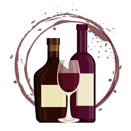 red wine bottle and cup label vector illustration design Foto de archivo - 102937852