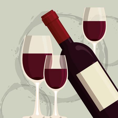 red wine bottle and cup label vector illustration design Foto de archivo - 102937854