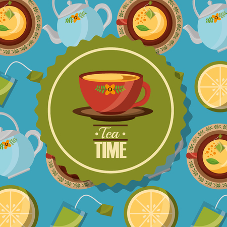teacup on dish badge and teapot cups background vector illustration