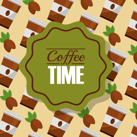 coffee time paper cup and grains background vector illustration