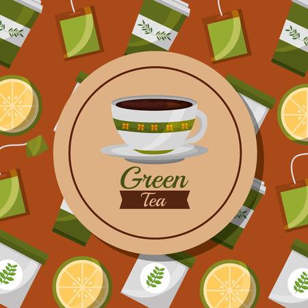 green tea foral ceramic cup and lemon teabag background vector illustration