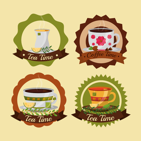 coffee and tea time set cups flowers decoration labels vector illustration Çizim