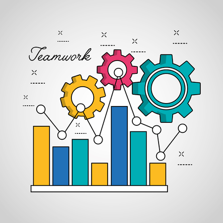 teamwork statistics graph bar pointed line connection gears vector illustration