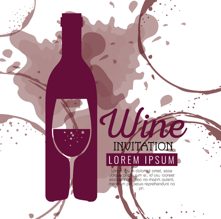 red wine bottle and cup label vector illustration design Foto de archivo - 102937631