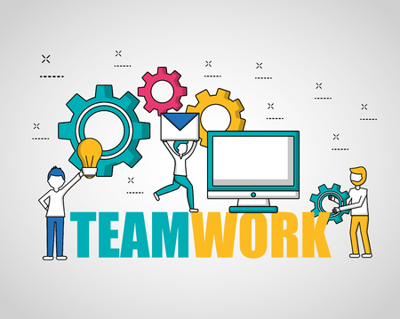 people teamwork technology many gears bulb idea email computer vector illustration