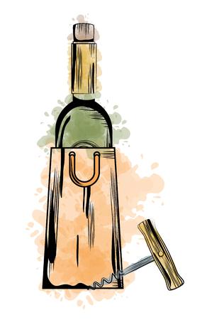 best wine bottle label vector illustration design Stock Vector - 102937743