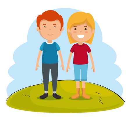 couple of kids characters vector illustration design