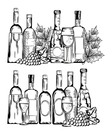 red wine set icons vector illustration design Ilustração