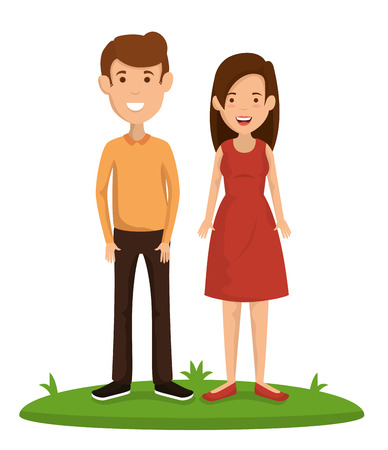 Par de amigos personajes felices, diseño de ilustraciones vectoriales
