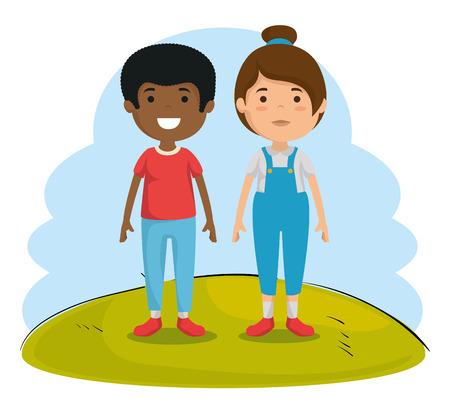 couple of kids characters vector illustration design Archivio Fotografico - 102937948