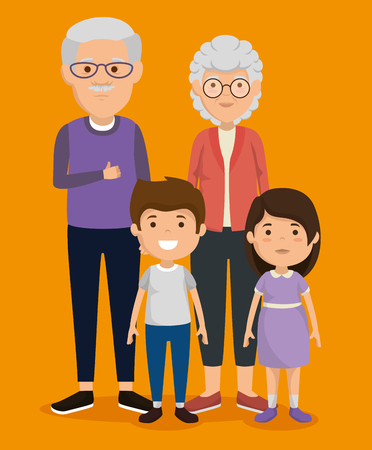 grandparents couple with kids avatars characters vector illustration design