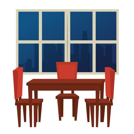 dinning room scene icons vector illustration design