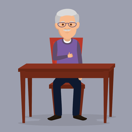 grandfather in the dinning room vector illustration design