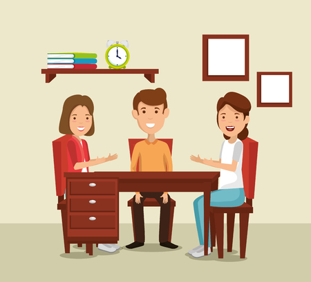 group of family members in the dinning room vector illustration design