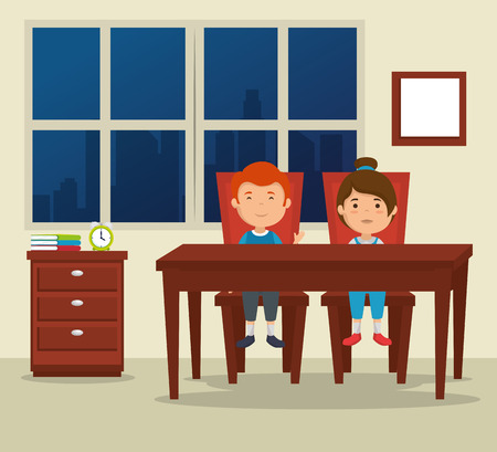 couple of kids in the dinning room vector illustration design