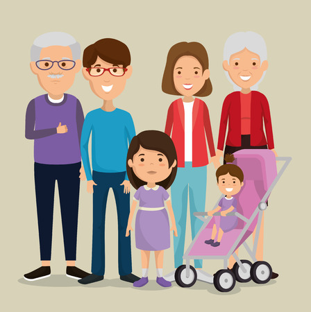 group of family members avatars characters vector illustration design