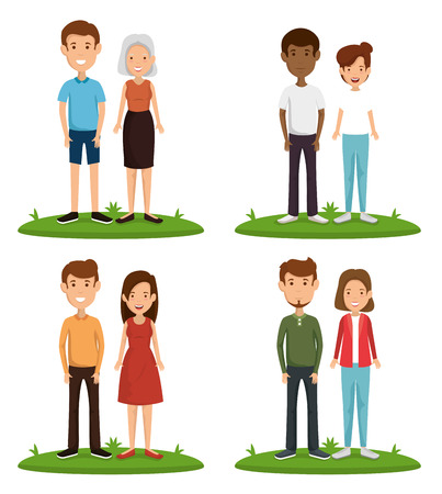 couple friends happy characters vector illustration design