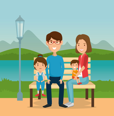 parents with kids in the park vector illustration design