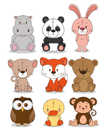 little cute animals group vector illustration design