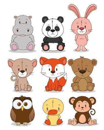 Pequeño grupo de animales lindos, diseño de ilustraciones vectoriales
