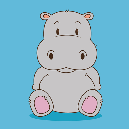 ładny mały hipopotam postać wektor ilustracja projektu