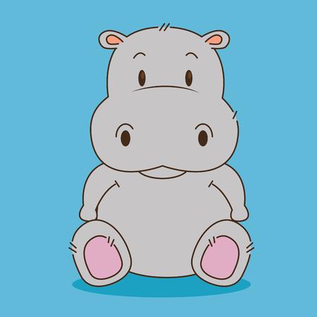 mignon petit caractère hippopotame vector illustration design