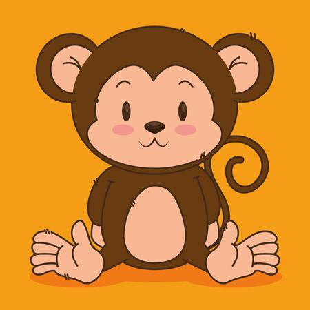 little cute monkey character vector illustration design