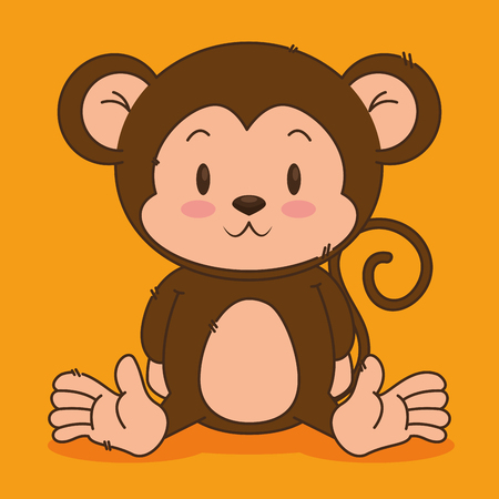 little cute monkey character vector illustration design