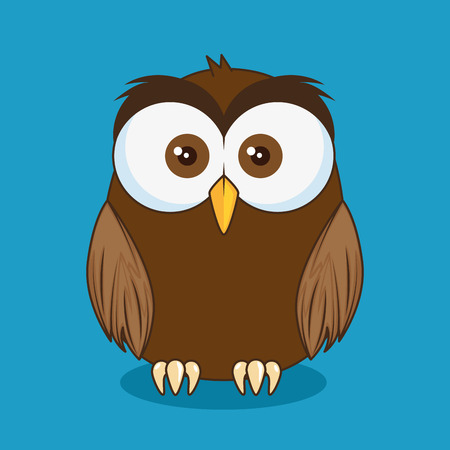little cute owl character vector illustration design