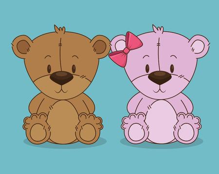 cute bears teddy couple characters vector illustration design
