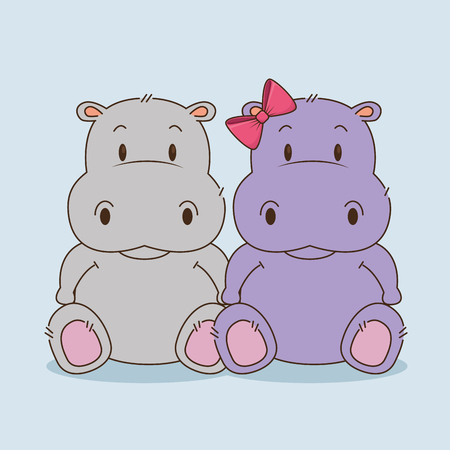 cute little hippos couple characters vector illustration design