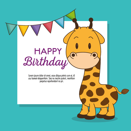 cute and little giraffe birthday card vector illustration design Foto de archivo - 102938118