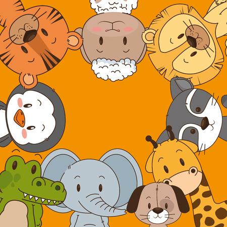 Pequeño y lindo grupo de animales, diseño de ilustraciones vectoriales