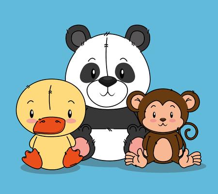 little cute animals group vector illustration design