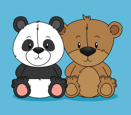cute bear teddy and panda characters vector illustration design