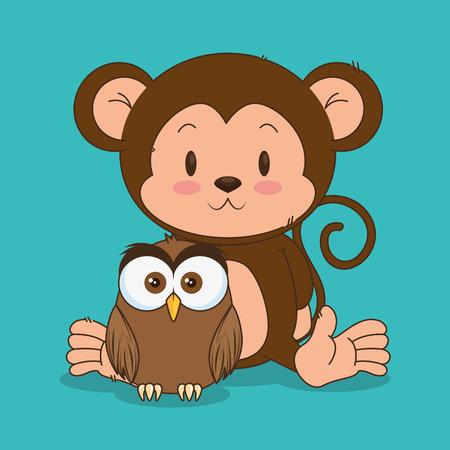 little cute monkey and owl characters vector illustration design Иллюстрация