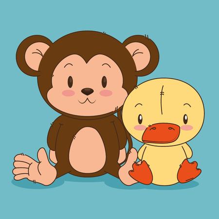 little cute monkey and duck characters vector illustration design Foto de archivo - 102938129