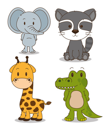 little and cute animals group vector illustration design