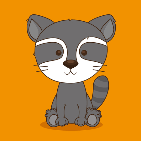 cute and little raccoon character vector illustration design