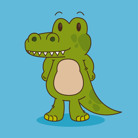 cute and little crocodile character vector illustration design