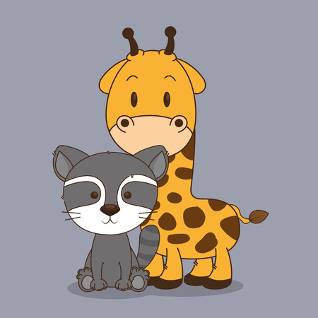 cute and little raccoon and giraffe characters vector illustration design Foto de archivo - 102938157