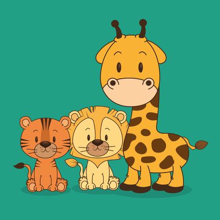 little and cute animals group vector illustration design Foto de archivo - 102938160