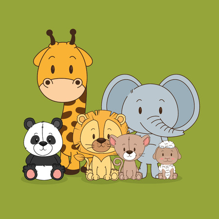 little and cute animals group vector illustration design Foto de archivo - 102938208