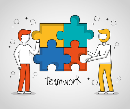 people teamwork boy holding puzzle vector illustration