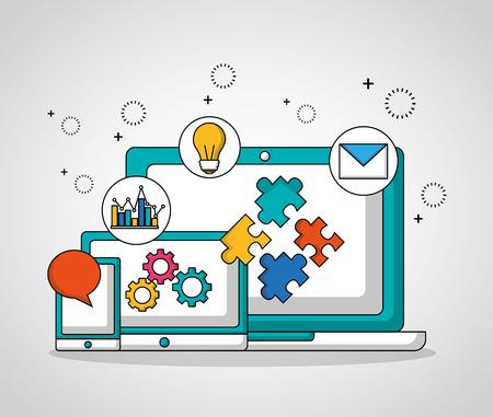 teamwork technology devices gears settings vector illustration